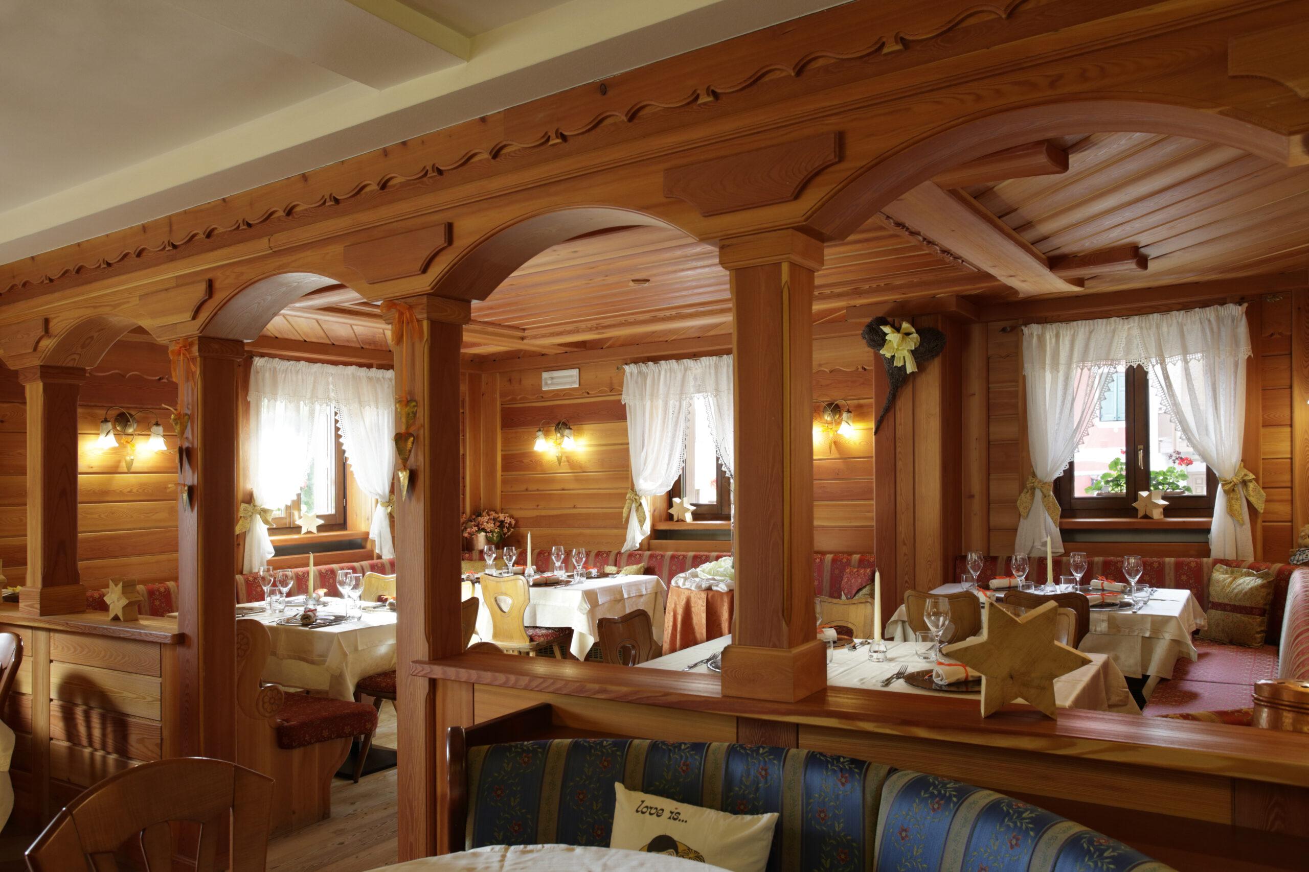 La sala ristorante di Hotel Cavallino