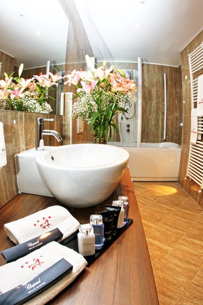 uno dei bagni della camera lovely ad andalo